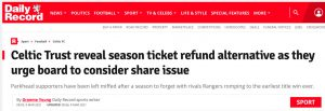 Daily Record shares for refund story headline